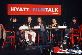 Panel guests at the September 28, 2004, Hyatt Film Talk, including moderator Philip Bergson (middle), Simone Britton (second from right) and Christian Johnson (far right). (Photo by Kirsten Greco)