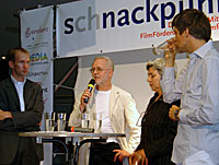 Arne Schmidt, Frank Fingerhuth, Heidrun Podzsus, and Mathias Elwardt at the S(ch)nackpunkt. (Photo by Becky Tan)
