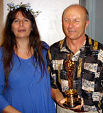 Osanna Vaughn with Hammond Peek and his Oscar from The Lord of the Rings: The Return of the King.